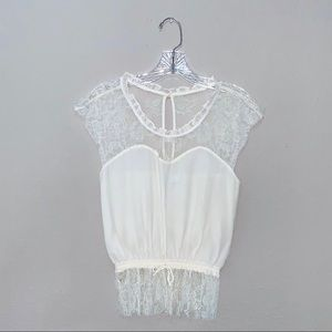 Silk & Lace Sweetheart Top in Ivory